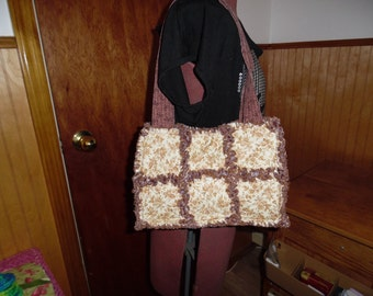 Tan and brown flowers handbag tote