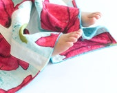 Patchwork Baby Blanket OOAK Patchwork Quilt Big Poppy with Minky for Baby Girl
