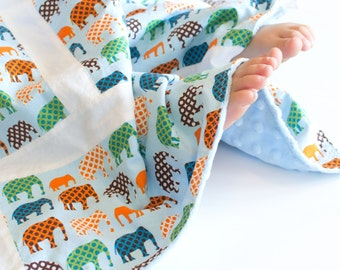 Baby Boy Patchwork Blanket Urban Circus Elephants (2)