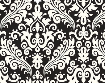 Cream Damask On Black Home Decor Riley Blake Cotton Fabric by the Yard