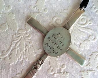 Custom spoon handle cross ornament