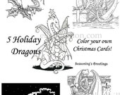 Digital Holiday Dragon Coloring Collection - print and color your own Christmas Cards!