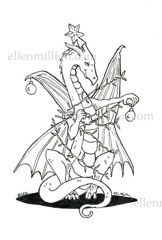 tangled up christmas dragon digi stamp digital coloring page