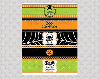 SALE:  Halloween Party Water Bottle Labels Wraps - INSTANT DOWNLOAD