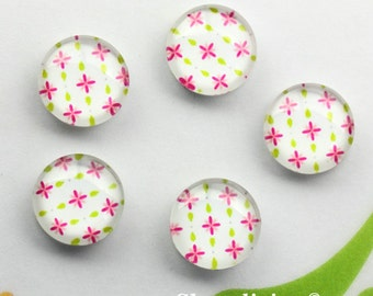 12mm Glass Cabochon, 8mm 10mm 14mm 16mm 20mm 25mm 30mm Pink Floral Photo glass dome -- BCH257A