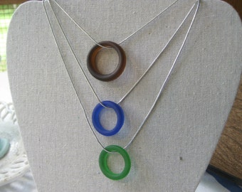 Seaglass inspired One  Tumbled TrAsH gLaSs  hoop necklace great eyeglass holder