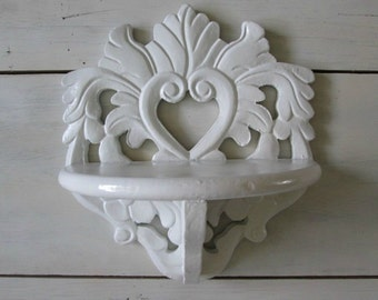 Shabby chic shelf wall cottage decor white french victorian trinket shelf vintage