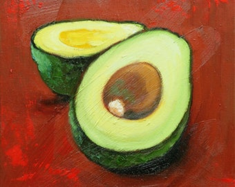 Avocado 2 still life painting 12x12 inch original oil painting by Roz