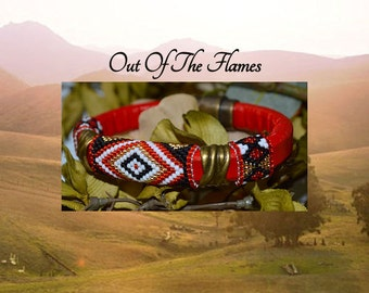 Red Licorice Leather Bracelet  - Red Diamond-  2a