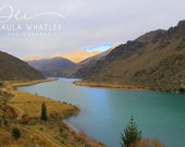 River landscape, mountain art, New Zealand wall art, New Zealand print, mountain photography, winding river landscape, blue river photo