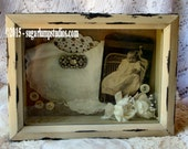 Shabby Sweet Pea Baby Shadow Box with rhinestone scatter pin,antique photo and vintage baby bib