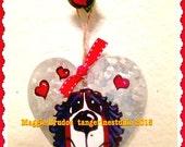 metal Handpainted Bernese Mountain Dog valentine ornament heart hang tag Maggie Brudos whimsical art Tangerine Studio