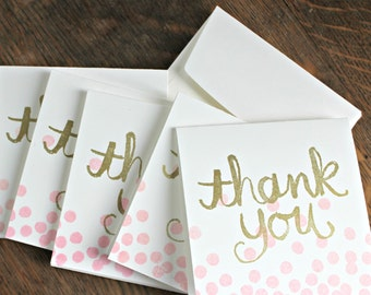 Small Thank You Cards, Handstamped, Gold and Pink
