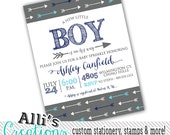 Printable Grey and Blue Arrow Boy Baby Shower Invitation PDF to send to printer of your choice - Baby Shower