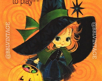 Vintage Digital Greeting Card: Cute Witch Halloween Card - Digital Download, Printable, Scrapbooking, Image, Clip Art