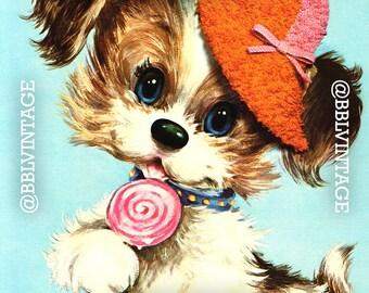 Vintage Digital Greeting Card: Kitsch Puppy with Lollipop - Digital Download, Printable, Scrapbooking, Image, Clip Art