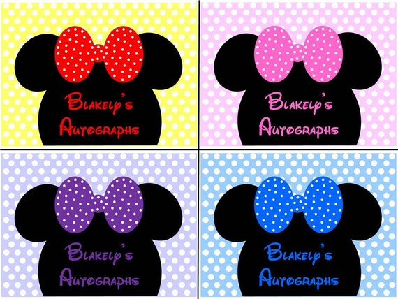Personalized Disney Minnie Mouse Head Autograph Book