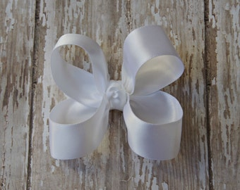 White Satin Toddler Hair Bow 3 Inch Alligator Clip Baby Hairbow Christmas Special Occasion