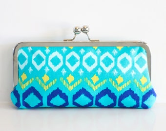 Turquoise Tribal Clutch - Kisslock Frame Clutch in Coral and White Chevron Print Canvas Fabric - Kisslock Clutch