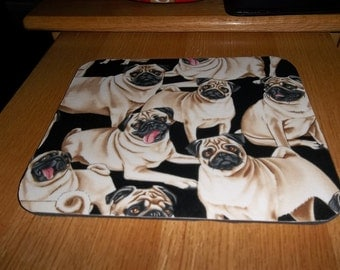 Mouse Pad Pug Dog Rectangle Handcrafted Mat
