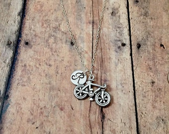 Bicycle initial necklace - bike jewelry, gift for cyclist, triathlon necklace, cyclist necklace, bike necklace, silver bicycle necklace