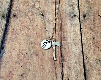 Axe initial necklace - axe jewelry, lumberjack necklace, hatchet necklace, silver axe necklace, weapon jewelry, ax necklace