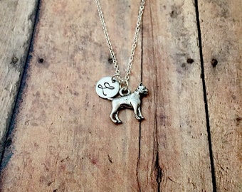 Boxer dog initial necklace - boxer dog jewelry, dog breed jewelry, gift for boxer owner, dog breed necklace, silver boxer necklace