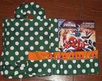 Hunter green polka dot with orange Crayon roll gift set