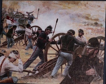 "Vintage Framed Don Stivers Civil War Print, ""Malvern Hill"""
