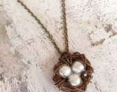 READY TO SHIP 3 Egg Nest with Ivory Pearl Vintage Style Wire Wrapped Bird Nest Antique Brass Bead Pendant Necklace Bird's Nest
