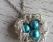 Three 3 Egg Custom Vintage Style Wire Wrapped Bird Nest Antique Silver Brass Egg Pendant Necklace New Mom Mother's Day CHOOSE YOUR COLOR