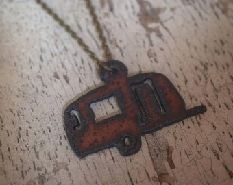 READY TO SHIP Mini Airstream Camper Rusty Rustic Recycled Aged Metal Pendant Glamping Charm Necklace