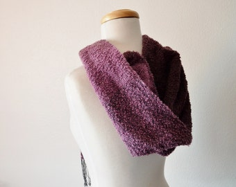 Plum Ombre Hoodie Scarf - Boho Modern Hippie Women's Fall Fashion Hand Woven Scarf Hoodie Hat Alternative in Bamboo and Acrylic