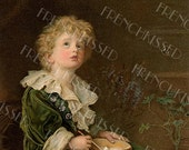 Victorian Boy in Green Blowing Soap Bubbles Antique English Postcard Digital Printable for Personal Use