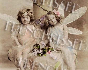 Dragonfly Fairies Rare Antique Fantasy Postcard Digital Printable for Personal Use