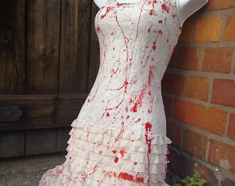 halloween CARRIE zombie bride texas walking DEAD cream lace 1920s flapper vampire wedding dress US size small ready to ship