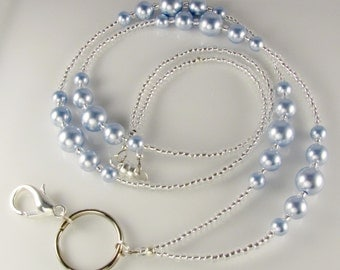 Blue Pearl Beaded Lanyard, ID Badge Holder, ID Necklace, breakaway lanyard, magnetic clasp