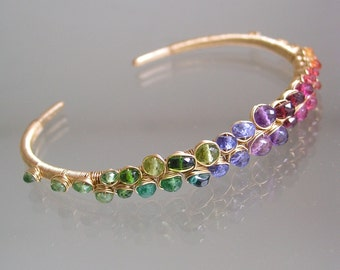 Rainbow Gemstone Gold Filled Bracelet, Stackable Cuff, Sapphire, Amethyst, Tanzanite, Ruby, Original Design, Signature, Made to Order