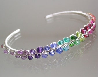 Rainbow Gemstone Cuff, Sterling Stackable Wire Wrapped Bracelet with Sapphire, Amethyst, Tanzanite, Garnet, Sapphire