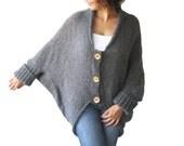 NEW! Plus Size Over Size Dark Gray Wool Overcoat - Poncho - Cardigan