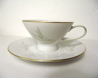 Rosenthal Continental Grasses Mid Century Modern Footed Teacup and Saucer Set Neutral Delicate Line Drawings MCM