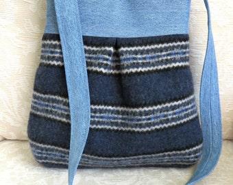 BELLA Purse, Blue Stripes Sweater Wool and Denim, Upcycled Handbag/Tote in Repurposed Wool and Denim