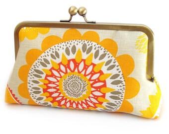 Yellow sunburst clutch bag, handmade silk-lined purse, wedding accessory, bridesmaid gift, ON SALE