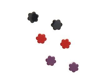 Deco Daisies Flower Stud Earring Set - Lucite Post Earrings - Black Cherry Red Purple