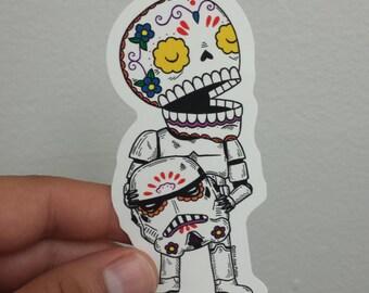 Unmasked Storm Trooper Calavera Die Cut Vinyl Sticker