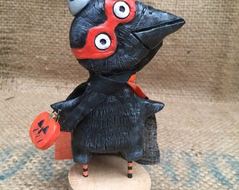 Black Raven masked marauder Halloween folk art Sculpture Ready to Ship