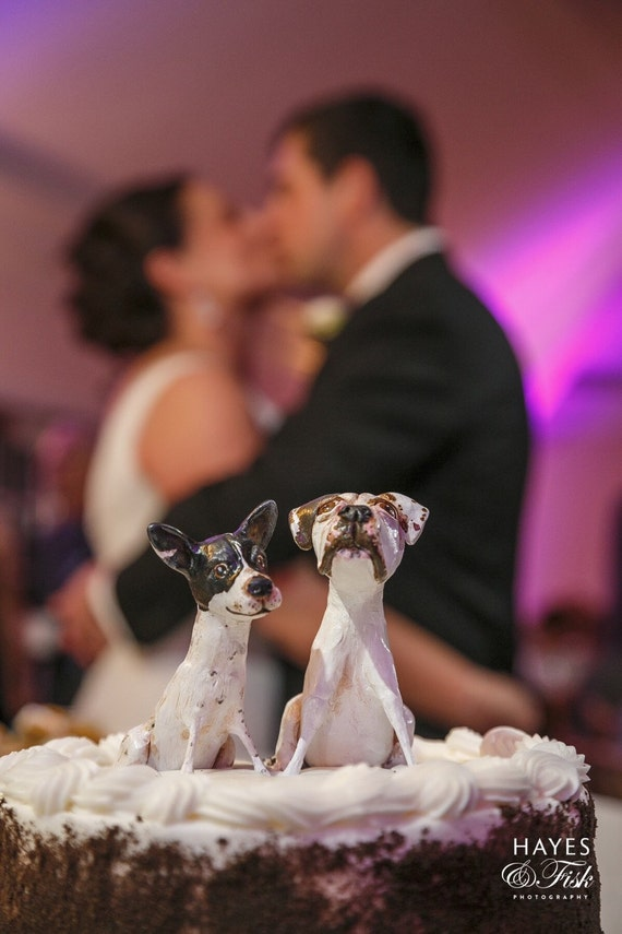 Customize your dogs Wedding Cake Topper two paper clay dog sculptures from your pets photos as seen in Richmond Weddings Magazine