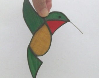 Hummingbird stained glass suncatcher green hummingbird sun catcher bird