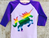 Girls Rainbow Unicorn Shirt - Purple Baseball Style Top for Children - Great Kids Gift or Birthday Party Outfit