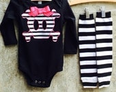 Girls Pirate Skull Baby Bodysuit or Kids Shirt, Leg/Arm Warmer Set - Fun Costume or Photo Shoot Outfit - Great Birthday or Shower Gift